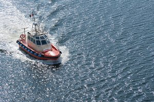 Modern Pilot boat out at sea near Gdansk, Poland