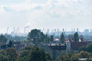 Smog over city of Gdansk, Poland