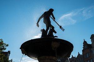 Neptunes Fountain in Market Square, Gdansk