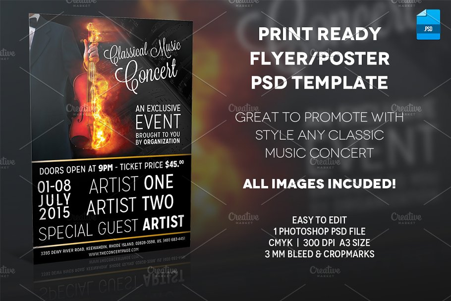 Classic Music Poster Print Template ~ Flyer Templates ~ Creative Market