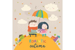 Cute couple with an umbrella in the autumn rain