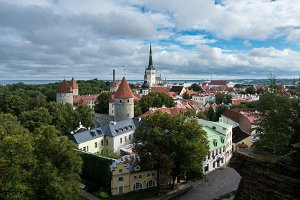 Panorama over old town of Tallinn in Estonia