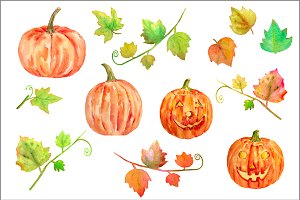 Watercolor Halloween Pumpkins