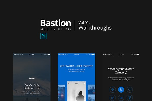Web Elements: CreativesCastle - Bastion Mobile UI Kit_01Walkthroughs