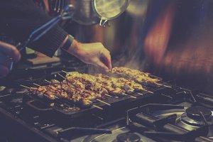 Grilling meat kebabs