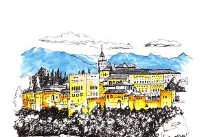 Alhambra fortress in Granada, Andalusia, Spain
