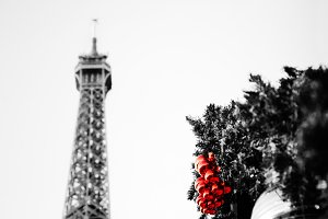 Eiffel tower and Christmas balls