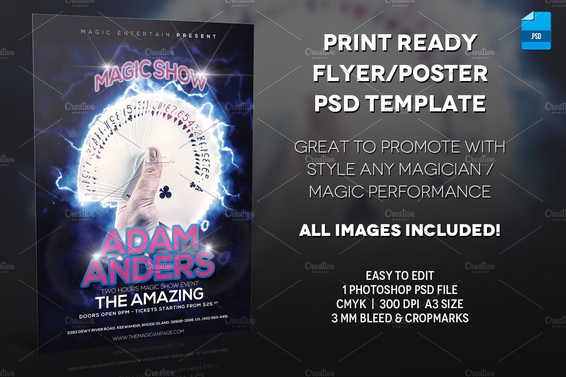 Magician poster print template flyer templates creative market magicingreecefo Choice Image