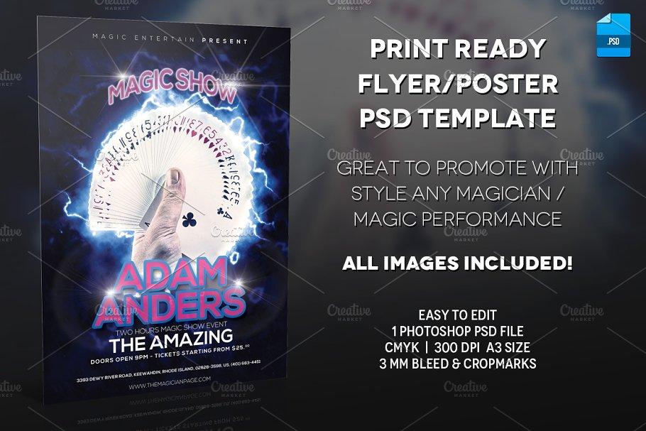 Magician Poster Print Template ~ Flyer Templates ~ Creative Market