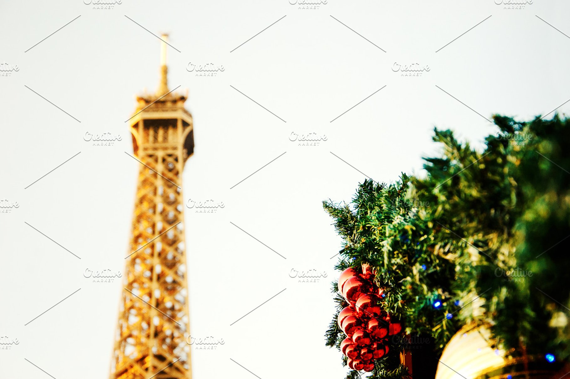 Save. Eiffel tower and Christmas decor