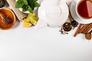 Tea condiments on white table
