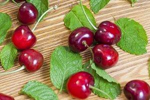 cherry and fresh mint