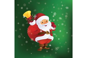 Santa Claus with gift bag and bell in hand.