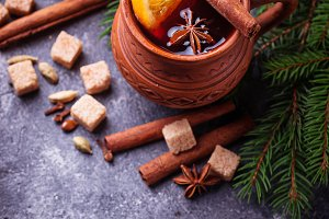 Mulled wine, winter hot drink