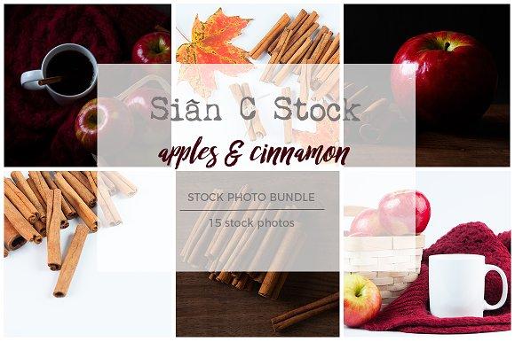 Apples Cinnamon Stock Photo Bundle