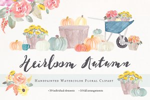 Heirloom Autumn Watercolor Clipart
