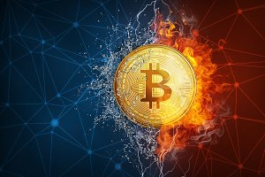 Gold bitcoin coin hard fork in fire flame, lightning and water splashes.