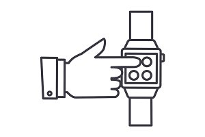 smart watch,hand touching watch vector line icon, sign, illustration on background, editable strokes