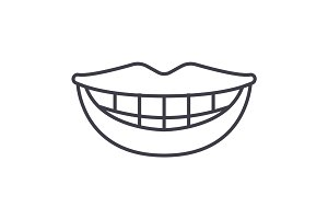 smile, teeth, mouth vector line icon, sign, illustration on background, editable strokes