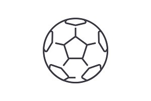 soccer ball,football vector line icon, sign, illustration on background, editable strokes