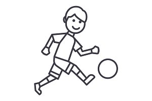 soccer player vector line icon, sign, illustration on background, editable strokes