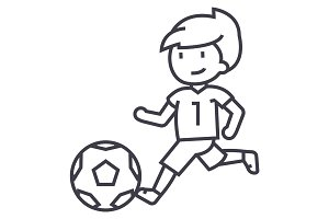 soccer,boy playing football vector line icon, sign, illustration on background, editable strokes
