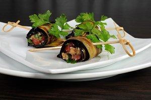Eggplant rolls stuffed