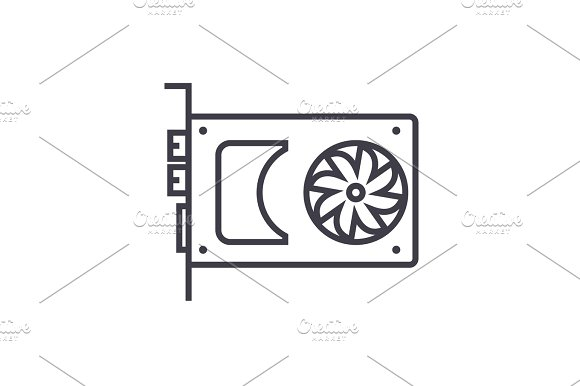 Sound Card Video Card Vector Line Icon Sign Illustration On Background Editable Strokes