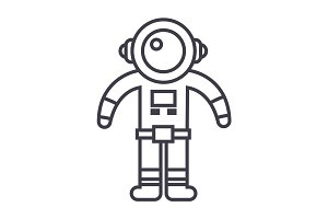 spaceman vector line icon, sign, illustration on background, editable strokes