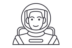 spaceman,astronaut in helmet vector line icon, sign, illustration on background, editable strokes