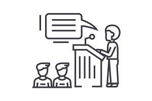 speaker,presentation,podium tribune stand vector line icon, sign, illustration on background, editable strokes