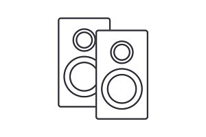 speakers vector line icon, sign, illustration on background, editable strokes