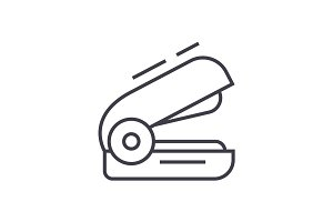 stapler vector line icon, sign, illustration on background, editable strokes