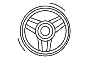 steering wheel  vector line icon, sign, illustration on background, editable strokes