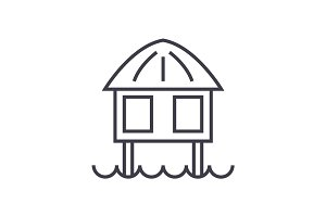 stilt house vector line icon, sign, illustration on background, editable strokes