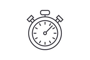 stopwatch,timer vector line icon, sign, illustration on background, editable strokes