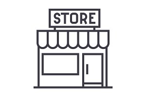 store sign vector line icon, sign, illustration on background, editable strokes