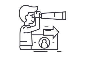 strategic vision, planning, man with spyglass vector line icon, sign, illustration on background, editable strokes