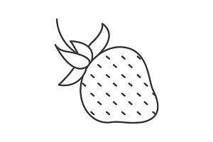 strawberry vector line icon, sign, illustration on background, editable strokes