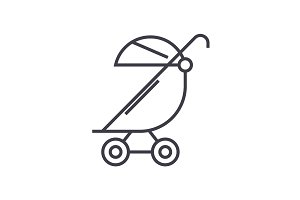 stroller, buggy vector line icon, sign, illustration on background, editable strokes