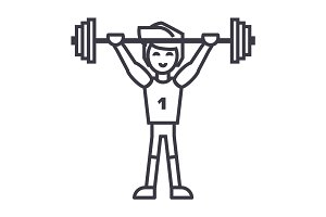 strong athlete with weights barbell,weightlifting vector line icon, sign, illustration on background, editable strokes