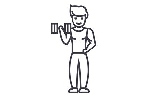strong man doing exercises with weights in gym vector line icon, sign, illustration on background, editable strokes