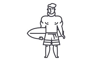strong man with surfing board vector line icon, sign, illustration on background, editable strokes
