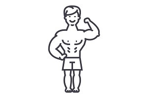 strong man, bodybuilder muscles vector line icon, sign, illustration on background, editable strokes