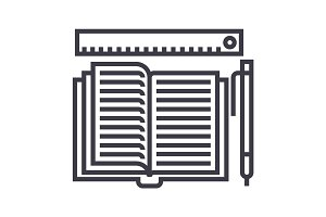 studying,open book, pen, ruler vector line icon, sign, illustration on background, editable strokes