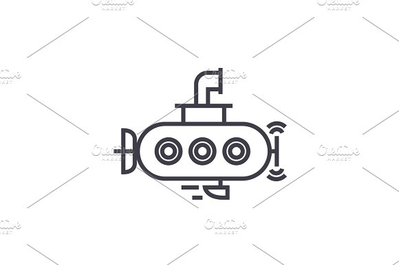 Submarine Vector Line Icon Sign Illustration On Background Editable Strokes