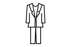 suit vector line icon, sign, illustration on background, editable strokes