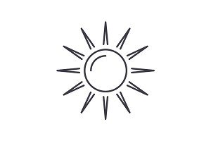 sun vector line icon, sign, illustration on background, editable strokes