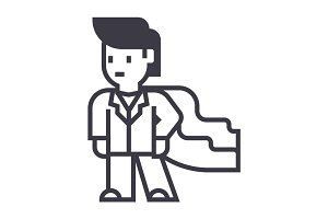 super hero, businessman, business vector line icon, sign, illustration on background, editable strokes