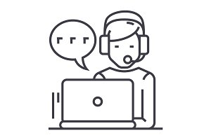 support,customer service,man with computer and headset and chat vector line icon, sign, illustration on background, editable strokes